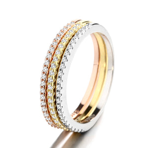 Single row full diamond round ring