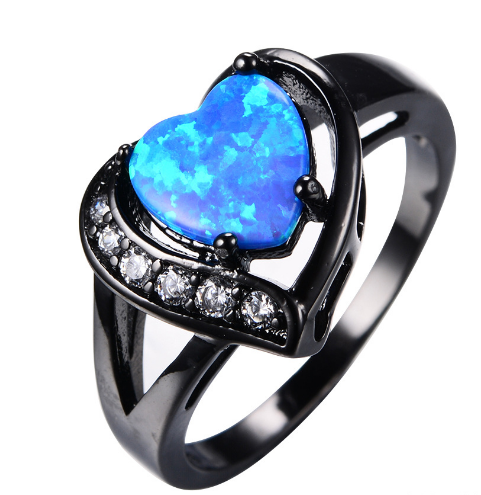 Female white Fire Opal Heart with zircon ring black gold ring promise engagement ring
