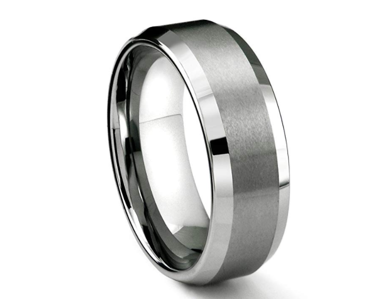 Round Brushed Silver Tungsten Ring