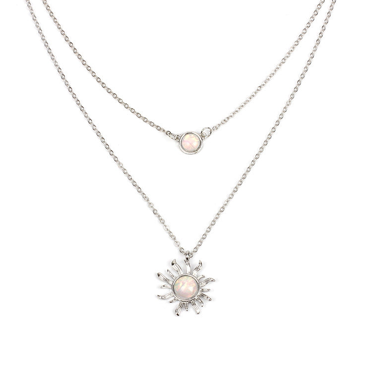 Multi-layered Sun Flower Necklace Female Fashion Opal Clavicle Chain