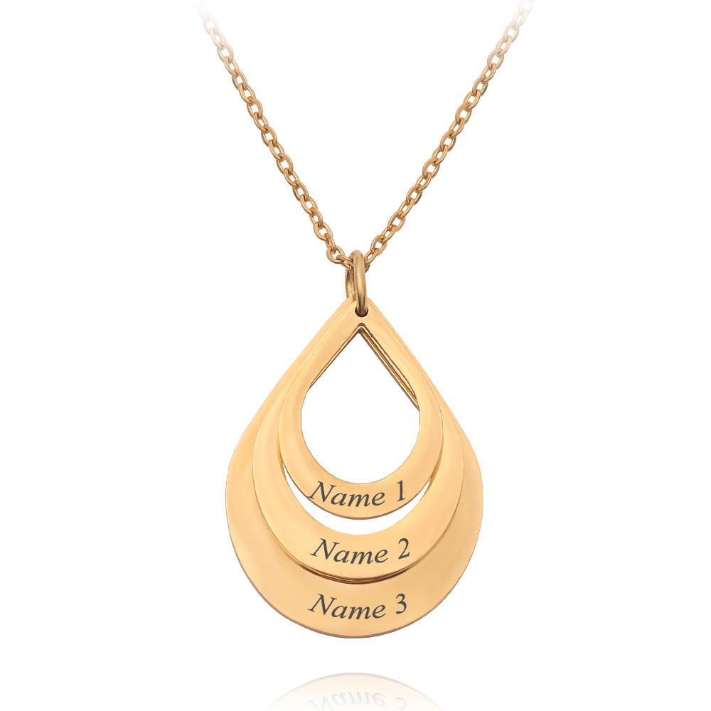 Personalized Family Necklaces Customized Engraved 3 Names Water Drop Pendant