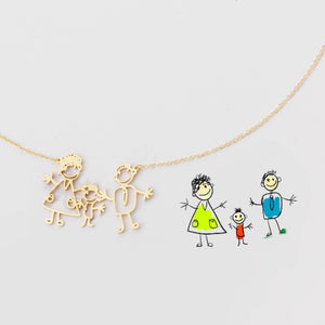 Baby hand drawing figure necklace