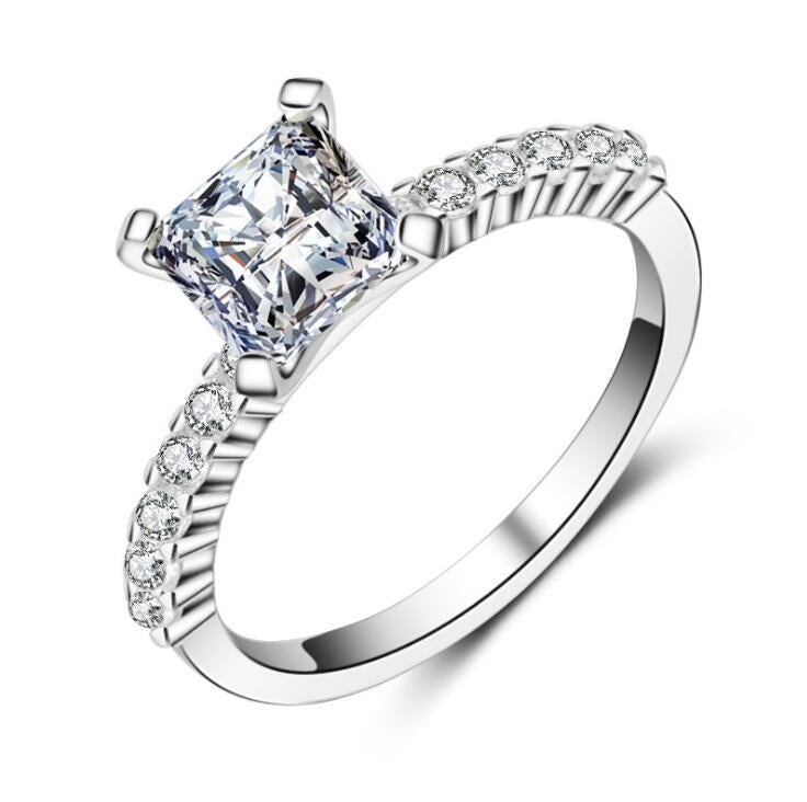 Marriage Square Diamond Princess Girl Female Ring Classic Four Claw Diamond Ring Platinum Not Fading Ghosts Jewelry