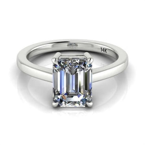 14K White Gold Moissanite Emerald-Cut  Engagement Ring