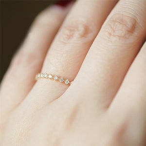 14k yellow gold ring Japanese ultra-fine and delicate diamond lace ring