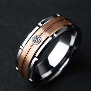 8mm Silver & Rose Gold Color Brushed Tungsten Carbide Wedding Ring