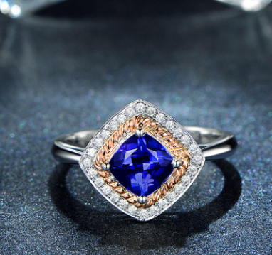 14K White Gold Sapphire Engagement Ring
