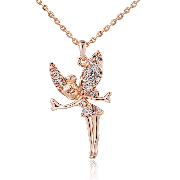 Crystal Fairy Necklace in 18K Rose Gold