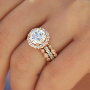 14K White Gold Moissanite Halo Engagement Ring