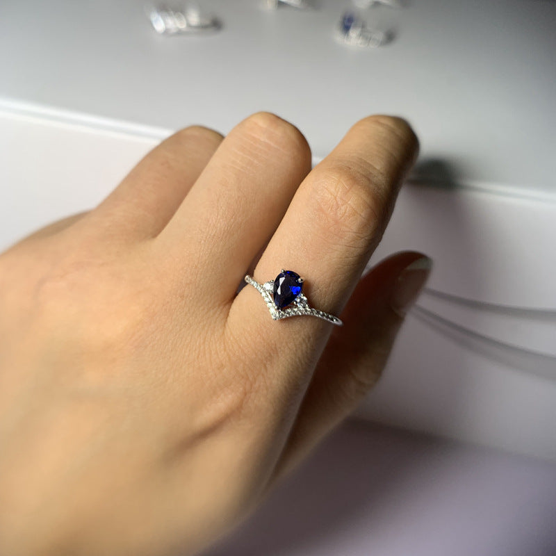Blue Sapphire Pear Drop Engagement Ring