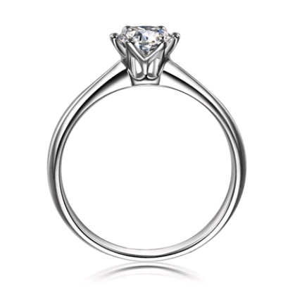 Jewelry S925 sterling silver jewelry SONA diamond ring 1 carat six-claw female crown simulation diamond ring ring