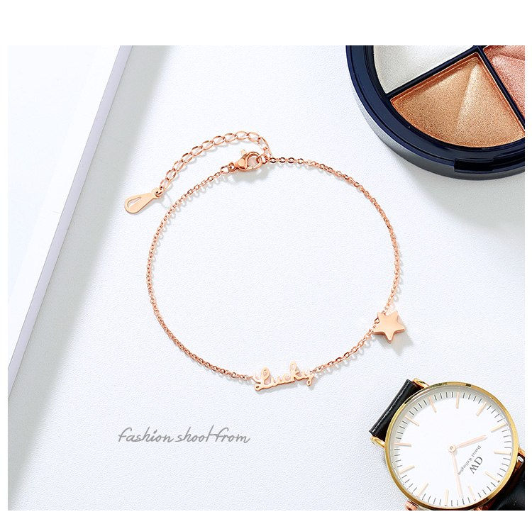 Rose Gold Color Anklet Lucky Star Chain for Woman Jewelry 316 L Titanium Steel Valentine Gift Never Fade Top Quality