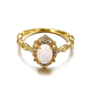 18K Yellow Gold Opal Engagement Ring