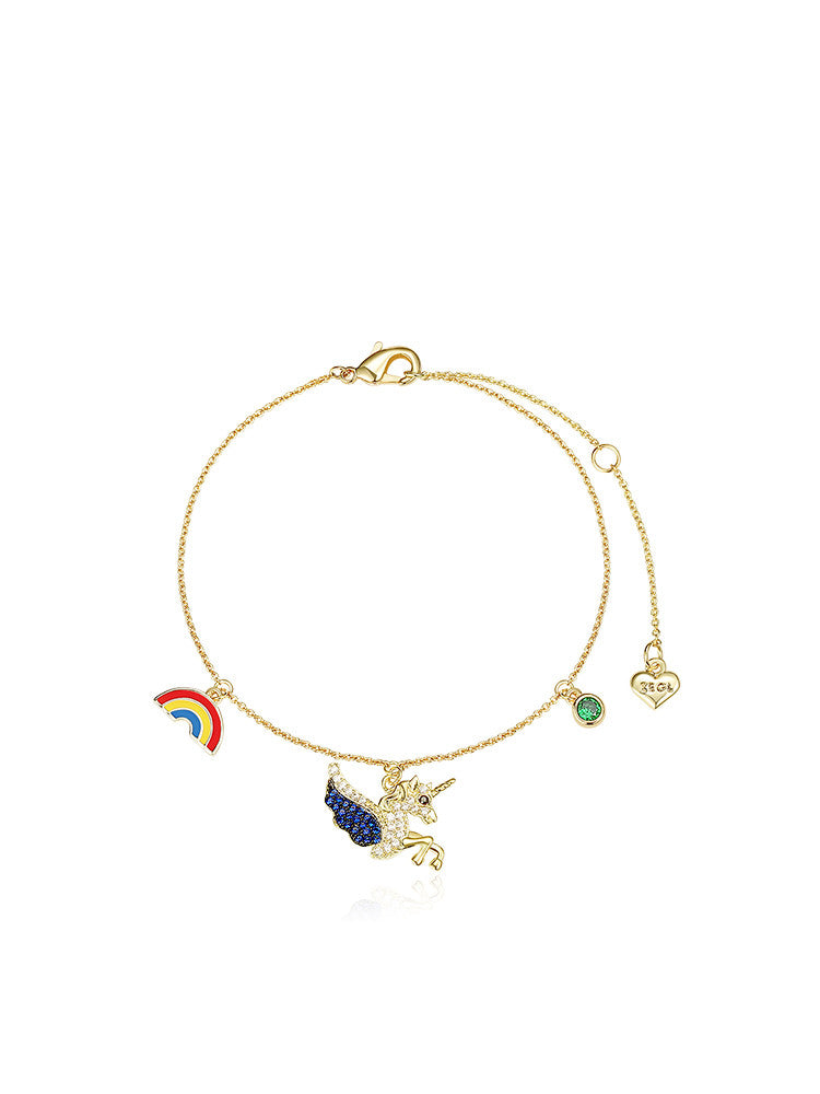 Rainbow unicorn bracelet female forest