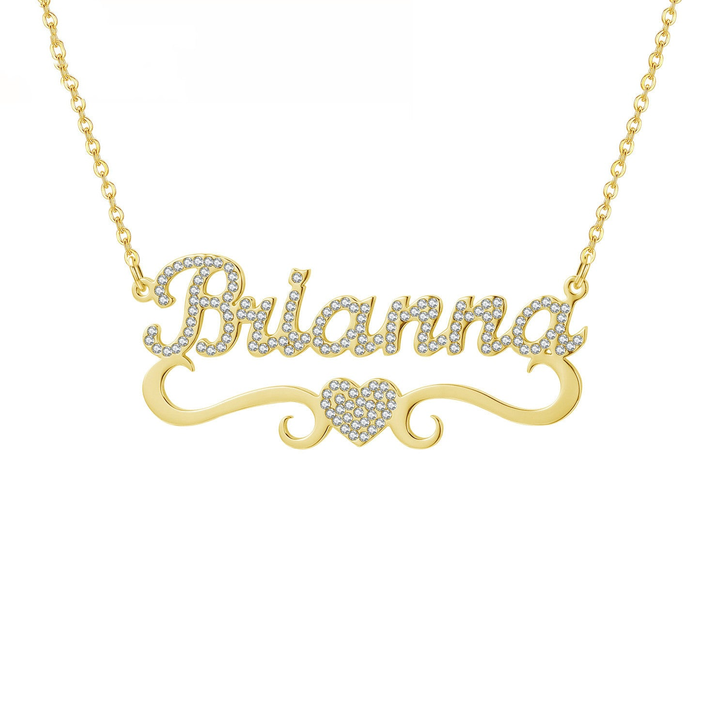 Personalized Heart Iced Out Name Necklace Butterfly Pendants