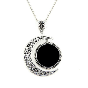 Time Gem Half Moon Pendant Necklace Jewelry