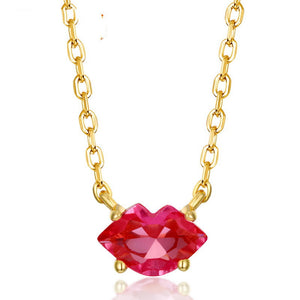 Red crystal lip clavicle chain