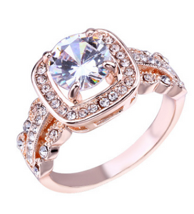 Cross-border e-commerce hot fashion wedding ring Creative rose gold zircon ring European and American women's jewelry