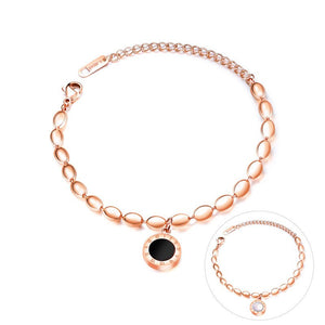 Rose gold black and white two-sided ladies bracelet