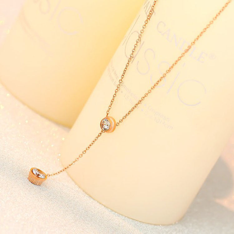 Stainless steel plated 18K rose gold single drill necklace