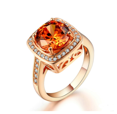 European and American fashion jewelry plated rose gold micro-inlaid yellow zircon women's ring