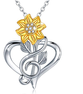 Necklace Sun Flower Heart Pendant