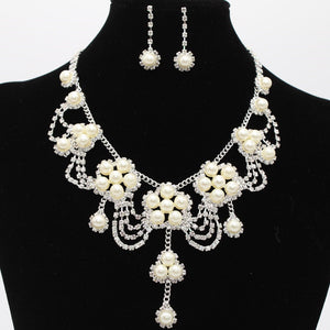 Direct selling bridal pearl necklace, bridal jewelry set, mother jewelry, diamond set chain two sets 8601