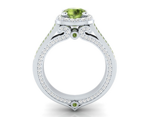 14K White Gold OL Emerald Vintage Engagement ring