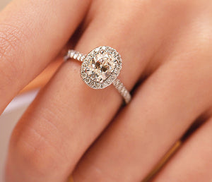 14K White Gold Tradition Oval Halo Engagement Ring