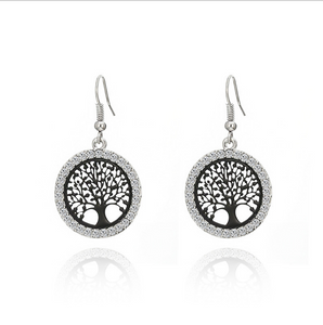 2020 creative earrings life tree ear hooks Europe and the United States Amazon punk earrings round hollow diamond earrings