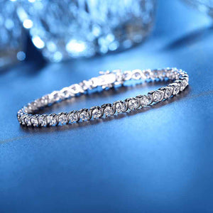 Europe and the United States S925 sterling silver bracelet, zircon lovers hand jewelry, big card Ya Asia Bracelet wholesale factory
