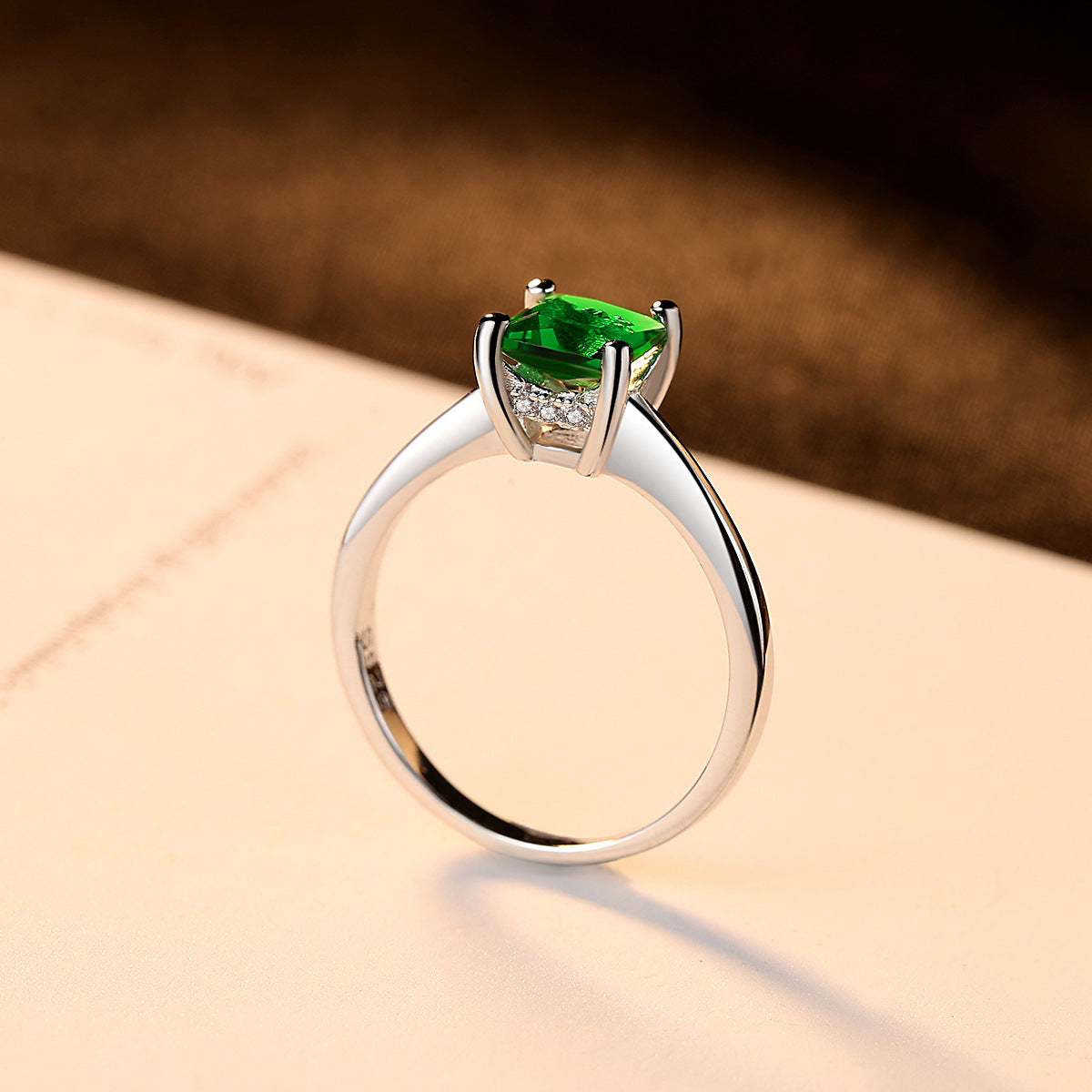 925 Silver Emerald Diamond Engagement Ring