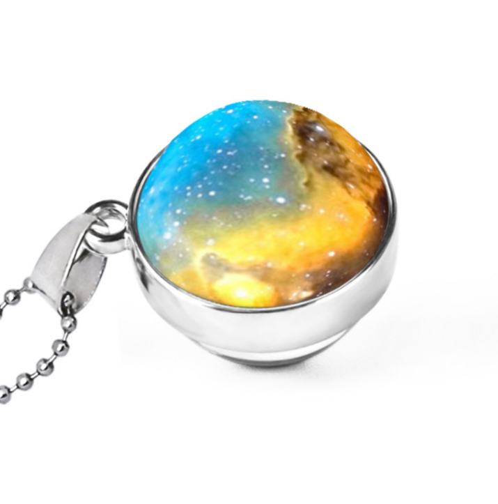 Hemisphere double-sided galaxy starry sky gemstone necklace