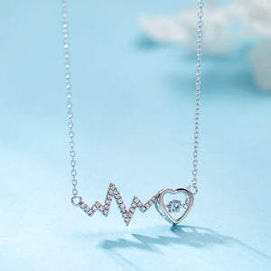 ECG wave curve love heartbeat lightning necklace