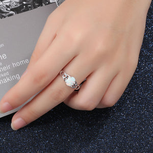 Goose protein Europe and America ladies creative opal opal pop jewelry female accessories 925 sterling silver ring