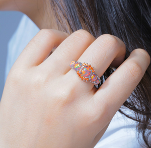 Lab-Created Fire Stone Opal Sterling Silver 5 Stone Ring