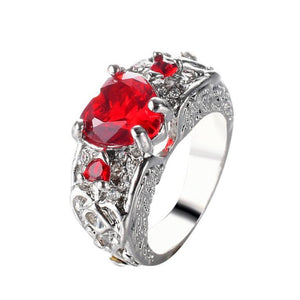 Beauty Princess ring heart-shaped ruby engagement ring