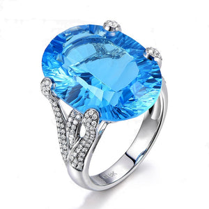 Engraved Karatuo Pa stone engagement ring Europe and the United States plated 18k colored sapphire ring women
