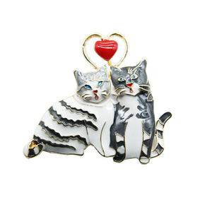 Cute couple cat brooch