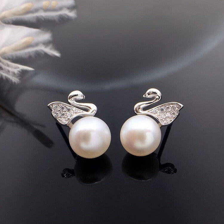 S925 silver freshwater pearl swan earrings