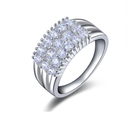 Platinum-plated zircon ring