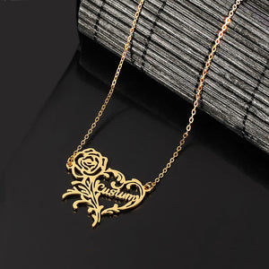 Personalized custom stainless steel letter rose heart necklace