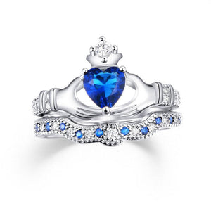 European and American hand-held blue crystal spine micro-set ladies ring zircon platinum-plated jewelry