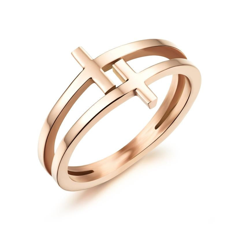 Electroplated rose gold double cross ring