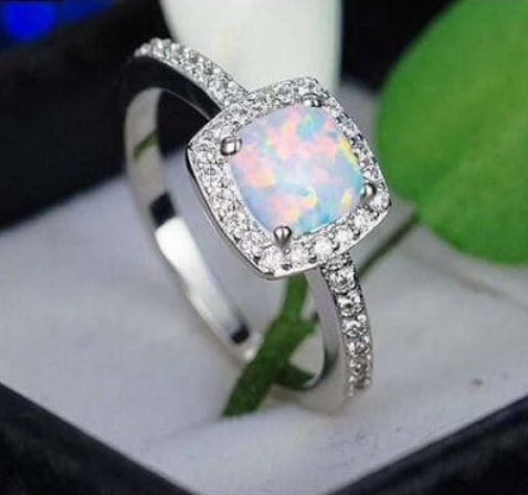 Opal Cushion Cut 14K White Gold Engagement Ring