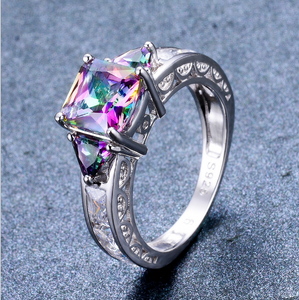 S925 sterling silver colorful opal + sterling silver diamond ring