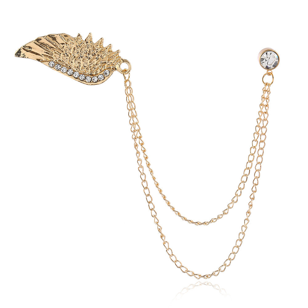 Angel Wings Diamond Chain Tassel Brooch