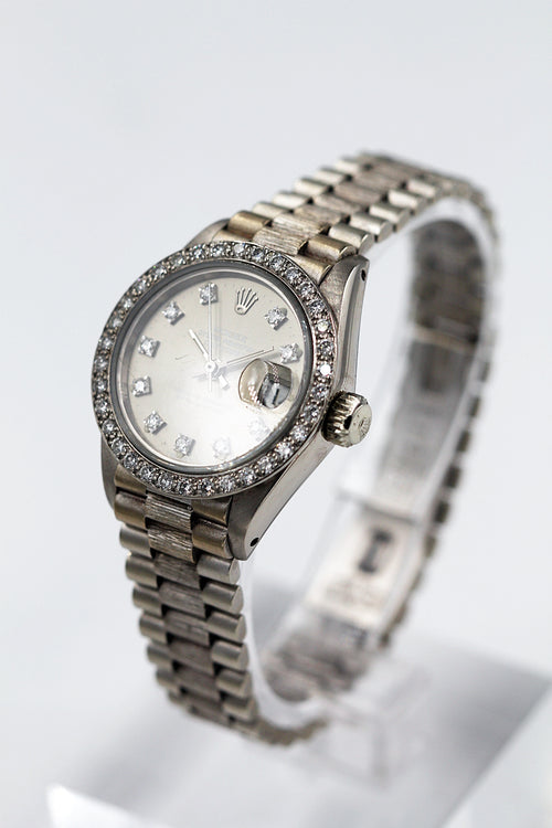 ROLEX<br>Oyster Perpetual Lady Datejust Weissgold Diamanten