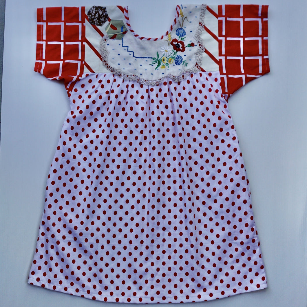 Size Medium Red Patchwork Smock Dress