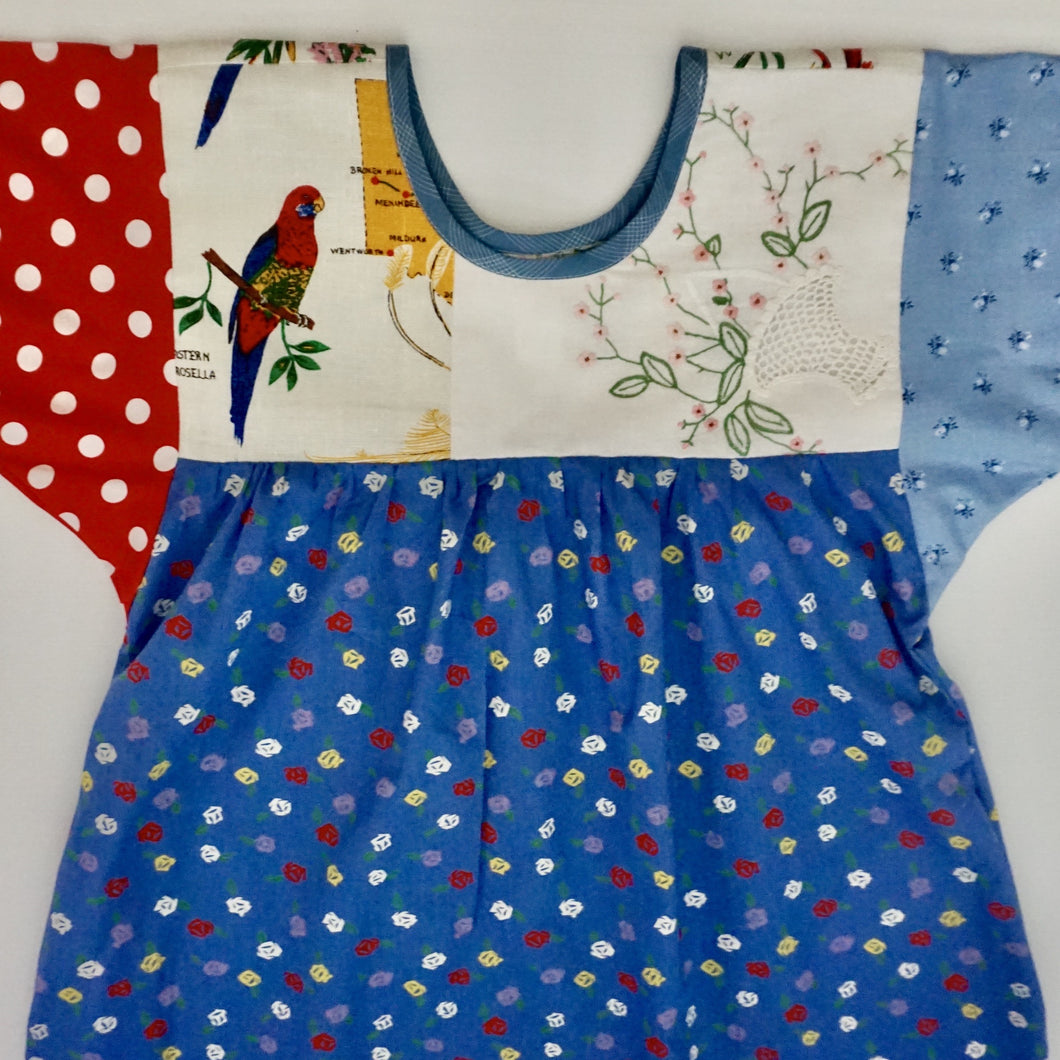 Size Medium Blue Parrot Smock Dress